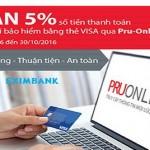 Hoàn 5% số tiền thanh toán bảo hiểm qua Pru-Online cho thẻ Eximbank-Visa