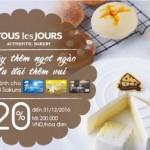 Giảm 20% cho chủ thẻ MB Sakura tại Tous Les Jours Việt Nam