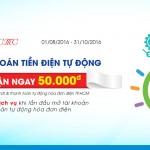 Thanh toán tiền điện tự động nhận ngay 50.000 đồng với Sacombank