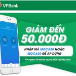 Khách hàng VPBank nạp tiền điện thoại qua Moca nhận chiết khấu ngay 50.000 đồng