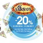 Ưu đãi 20% tại Alfresco cho chủ thẻ MB Sakura