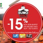Ưu đãi 15% tại Sumo BBQ cho chủ thẻ MB Sakura