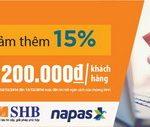 Giảm 15% khi mua sắm trên Lazada.vn bằng thẻ nội địa SHB