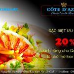 Giảm 20% dành riêng cho chủ thẻ Eximbank tại nhà hàng Côte D'Azur