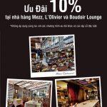 Giảm 10% các dịch vụ ẩm thực tại các nhà hàng thuộc khách sạn Sofitel Saigon Plaza dành cho khách hàng Eximbank