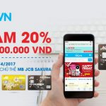 Giảm 20% cho chủ thẻ JCB Sakura tại Tiki.vn