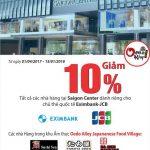 Ưu đãi giảm 10% dành cho chủ thẻ quốc tế Eximbank-JCB ở các nhà hàng Nhật tại Saigon Center