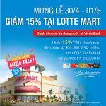 Giảm 15% cho chủ thẻ VietinBank khi mua sắm tại Lotte Mart