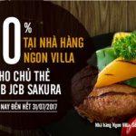 Giảm 10% tại nhà hàng Ngon Villa cho chủ thẻ MB JCB Sakura