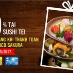 Giảm 10% cho chủ thẻ MB JCB Sakura tại Sushi Tei