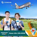 Hoàn tiền 200.000 đồng dành cho chủ thẻ Eximbank-JCB khi mua vé máy bay Jetstar Pacific