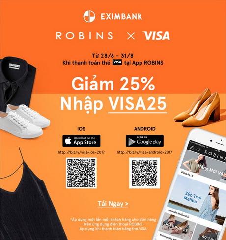 Ưu đãi 25% khi thanh toán thẻ tại App Robins cùng thẻ quốc tế Eximbank – Visa