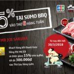 Giảm 15% tại Sumo BBQ cho chủ thẻ MB JCB Sakura
