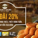 Giảm 20% tại Tous les jours cho chủ thẻ MB JCB Sakura