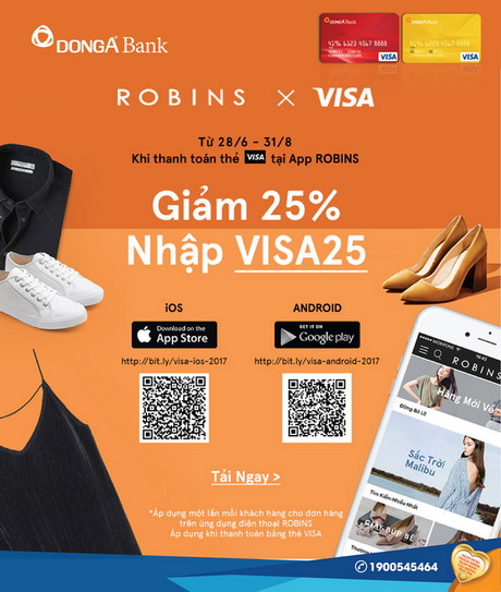 Giảm 25% khi thanh toán bằng thẻ Visa DongA Bank tại App Robins