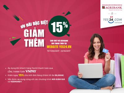 Mua sắm tiết kiệm, giảm giá 15% tại website Yes24.vn cho khách hàng của Agribank