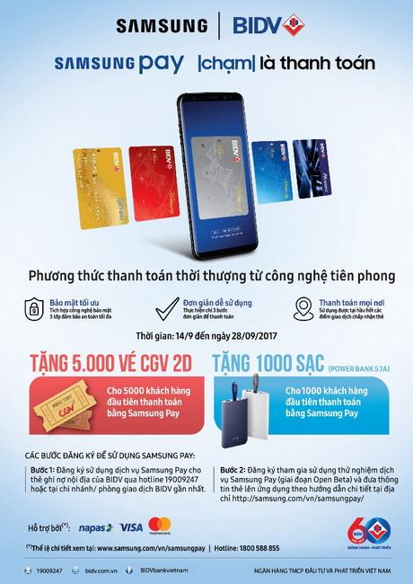 Quẹt Samsung pay, sạc dự phòng về tay cùng BIDV