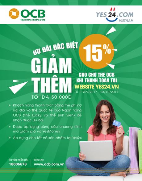 Giảm thêm 15% cho chủ thẻ OCB khi thanh toán tại website Yes24