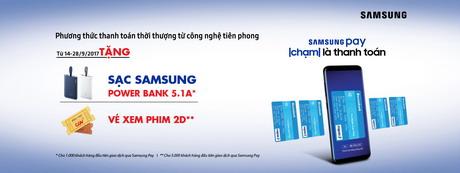 Thanh toán qua Samsung Pay – Nhận vé CGV và sạc dự phòng cùng Sacombank