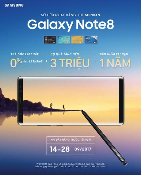 Đặt hàng Samsung Note 8, Nhận ngay ưu đãi hấp dẫn cùng Shinhan Bank
