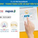 Ưu đãi khi đăng ký thành công dịch vụ thanh toán và nạp tiền tự động AutoPay với thẻ Sacombank
