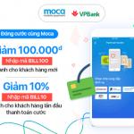 Tặng ngay 100.000 VNĐ khi thanh toán hóa đơn trả sau bằng thẻ VPBank qua ví Moca
