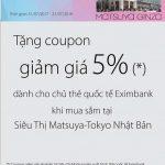Ưu đãi giảm giá 5% dành cho chủ thẻ quốc tế Eximbank tại siêu thị Matsuya Ginza tại Nhật Bản