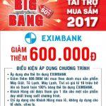 Ưu đãi giảm giá 600.000 đồng dành cho chủ thẻ tín dụng Eximbank tại siêu thị Nguyễn Kim