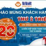 Ví Việt tưng bừng quà tặng chào mừng khách hàng thứ 2 triệu