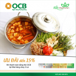 Giảm 10% dành cho khách hàng thanh toán bằng thẻ OCB tại nhà hàng chay Ba Lá