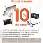Ưu đãi dành cho chủ thẻ Eximbank tại Mega Hut, Jess và Eyewear Hut