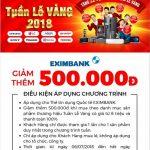 Ưu đãi giảm giá 500.000 đồng dành cho chủ thẻ tín dụng Eximbank tại siêu thị Nguyễn Kim