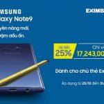 Ưu đãi cùng thẻ Eximbank khi mua Samsung Galaxy Note 9
