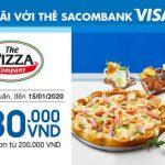 The Pizza Company ưu đãi cho chủ thẻ Sacombank Visa