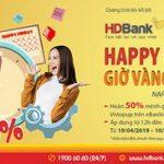 12h trưa thứ 6, nạp tiền điện thoại hoàn 50% giá trị tại HDBank