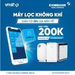Tri ân khách hàng - Tặng voucher trị giá 200K khi mua sắm trên VnShop với Eximbank Mobile Banking
