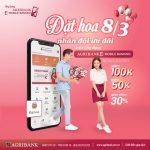 Đặt hoa 8/3 - Nhân đôi ưu đãi trên ứng dụng Agribank E-Mobile Banking