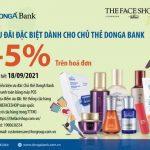 Giảm giá 5% trên hóa đơn khi mua sắm tại TheFaceShop dành cho chủ thẻ DongA Bank
