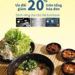 Ưu đãi 20% cho chủ thẻ Eximbank tại Bún thố đá Vua Mặt Trời
