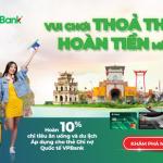 Hoàn tiền 10% chi tiêu Ăn uống, Du lịch vui đón Lễ với thẻ ghi nợ quốc tế VPBank